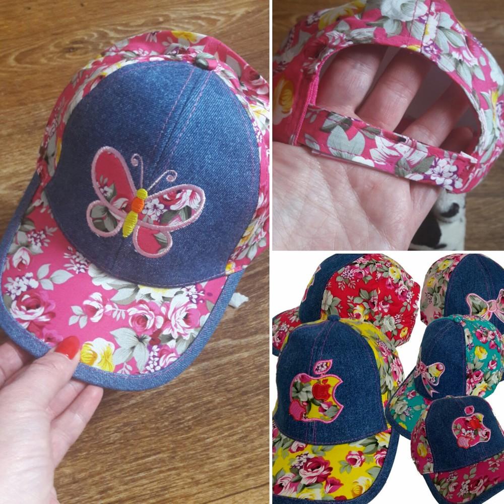 Кепка джинс.52-54 цветы,бабочки,яблоко. фото №1