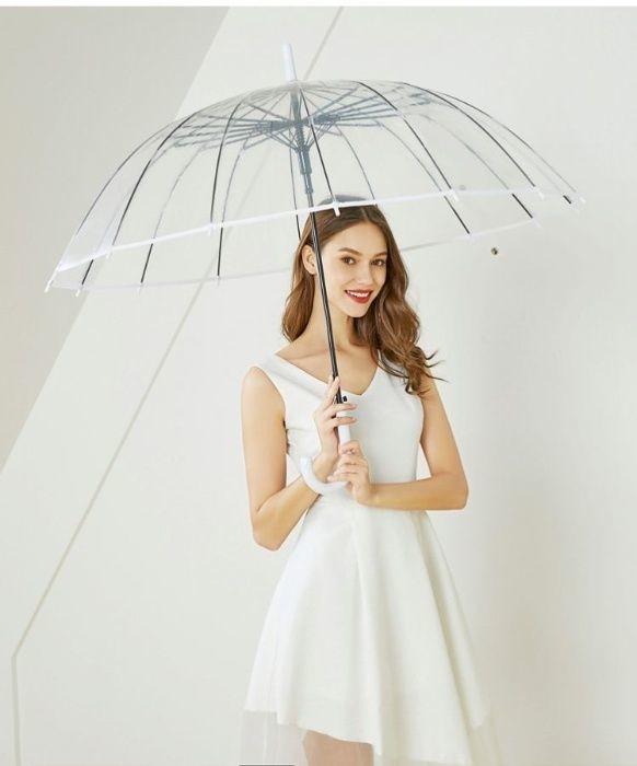 Качественный прозрачный женский молодёжный зонт трость 14 спиц фото №1