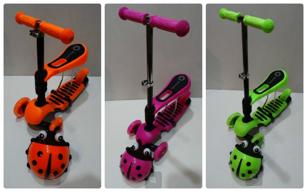 Самокат c сиденьем Scooter mini 3в1 Божья Коровка фото №1