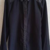 Крутая шифоновая рубашка Оnly с джинсовым вортником ( M-L )