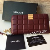 Женский кожаный кошелек Chanel Шанель марсала