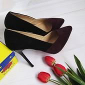Туфли лодочки марсала, туфли замшевые