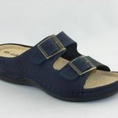 100-36-4-004  Женская ортопедическая летняя обувь, сабо, материал - нубук, синий цвет Inblu, Инблу