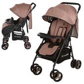 Детская прогулочная коляска Коричневая (M 3443-17 Gift) с футкавером