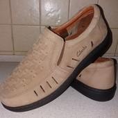 летние туфли clarks comfort line мужские 40р кожа новые 2 цвета