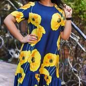 Размеры 50-56 Элегантное женское платье на лето с цветочным принтом