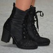 Зимние ботинки-дутики на каблуке, р 39 Sopra