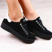 Женские кеды, черные, замшевые, на шнурках