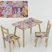 Столик и два стульчика деревянные Винкс
