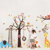 """Наклейки на стену для детской """"Большое дерево и зверюшки"""""""