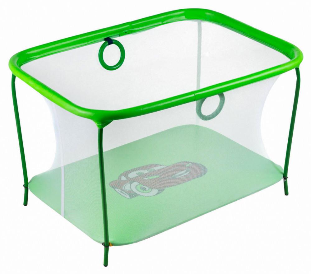 Манеж детский игровой kinderbox люкс салатовый тачки с мелкой сеткой (km 56) фото №1