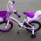 """Двухколесный велосипед для девочек с корзинкой и сидением для куклы Kids bike 16"""""""
