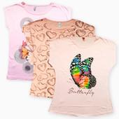 Розовые, персиковые футболки больших размеров рр.48-56