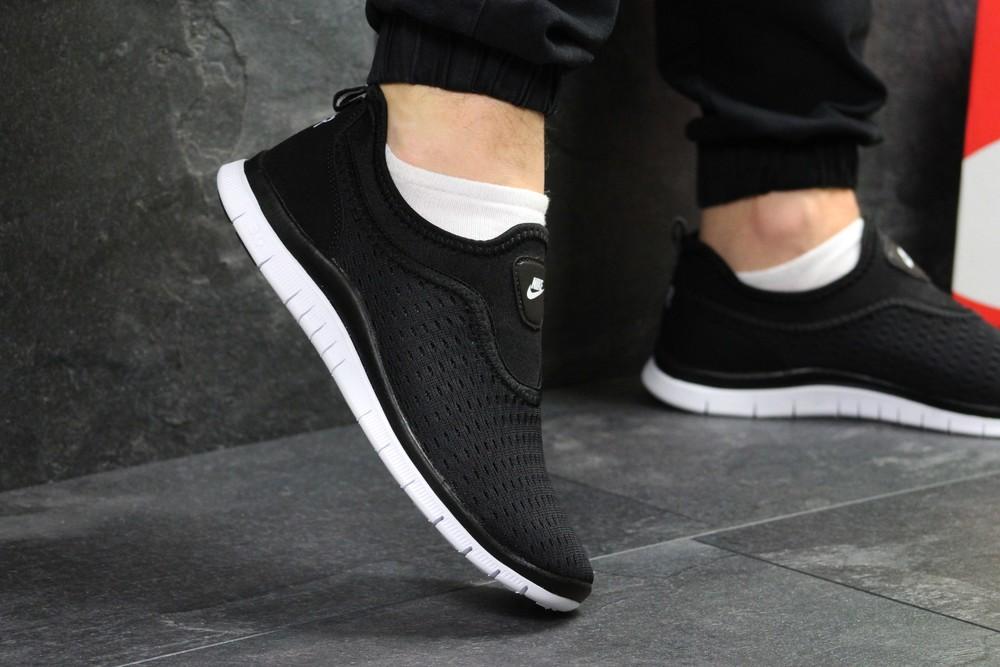 Кроссовки мужские сетка Nike black/white фото №1
