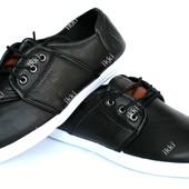 Мужские стильные мокасины черного цвета (680-1)