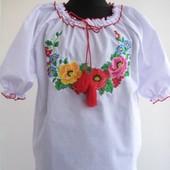 Вышиванки с короткими рукавами для девочки 128, 134, 140, 146, 152.