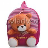 Рюкзак для дошкольников с мягкой игрушкой мишка полосы розовый