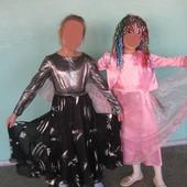 р. 140-146 черное нарядное платье на подкладке, сшито на заказ