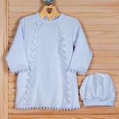 Крестильная рубашка +шапочка 74р. два цвета наряд для крещения