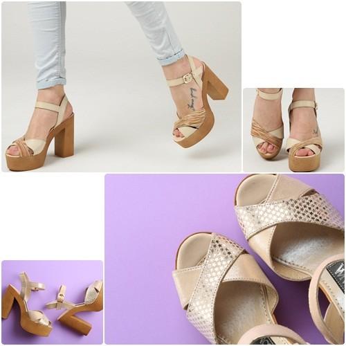 Стильные  кожаные босоножки на высоком каблуке и платформе в двух цветах фото №1