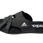 Шлепанцы мужские Adidas Style 126 черные (реплика)