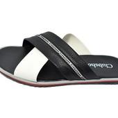 Шлепанцы мужские Clubshoes черно-белые (реплика)