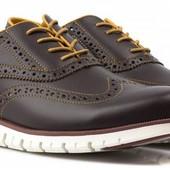 Туфли-броги мужские, кожаные, коричневые Golderr  р. 44, стелька 29см