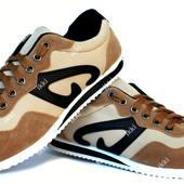 Мягкие и удобные мужские кроссовки коричневые (К-15)