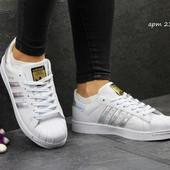 Кроссовки Adidas Superstar white silver 36р