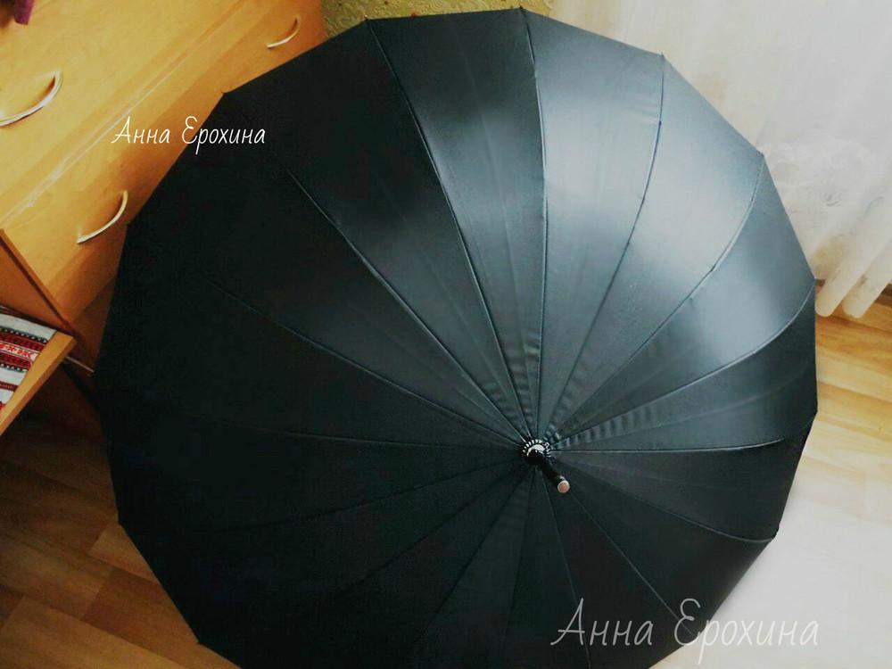 Большой мощный мужской зонт трость yuzont 16 спиц антиветер фото №1