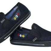 Темно-синие летние мужские мокасины (Р-2804тс)