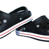 Мужские кроксы шлепанцы черного цвета (Р-224ч)