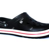Мужские кроксы шлепанцы черного цвета (ПР-224ч)