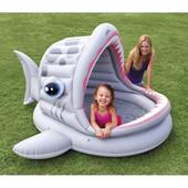 Детский надувной бассейн акула с навесом, Intex 57120, 201 х 198 х 109 см