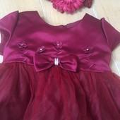 Нарядное бордовое платье 18мес