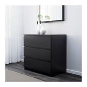 Комод с 3 ящиками Черно-коричневый, Мальм Malm Ikea 801.033.44 В наличии