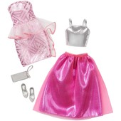 Barbie Одежда для Барби платья розовый и серебристый fashion 2 pack fancy - pink & silver