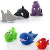 """Игрушки для купания, пищалки """"Морские животные"""", 6 шт, акула морж кит крокодил и др"""