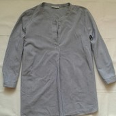 Свободная натуральная блуза в мелкую полоску ( L )