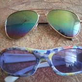 Одним лотом. Детские 3-10лет солнцезащитные очки Авиаторы Капли зеркалки + очки детские. Нюанс.