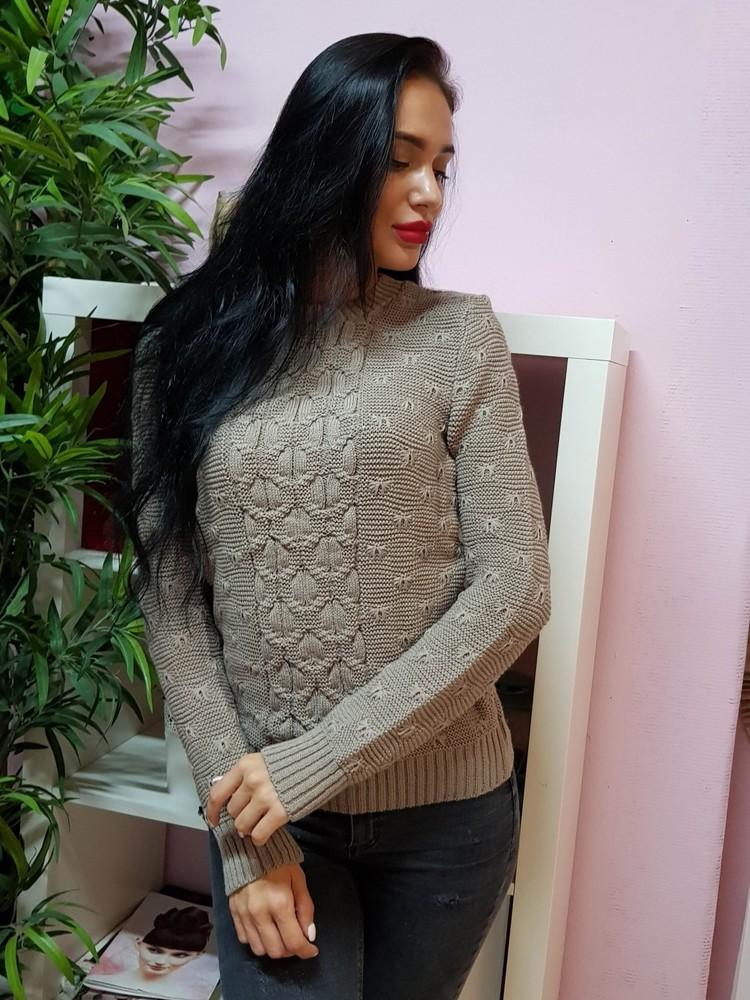 Комфортный свитер с объемным узором фото №1