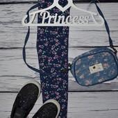 1 - 2 года 86 - 92 см Яркие модные фирменные легинсы лосины с принтом девочке цветы