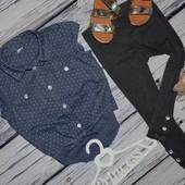 6 лет 116 см Рубашка блузка блуза джинсовая для модниц легкая натуральная горох