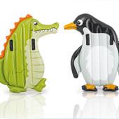 Матрас животные крокодил и пингвин с ручками 114 112см 58151 Интекс Intex