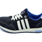 Кроссовки подростковые замша Cross Fit 30 Suede темно-синие