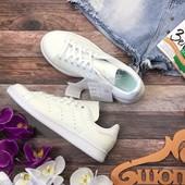 Кожаные сникеры Adidas с фактурным верхом в стиле total white  SH26132