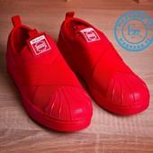 Мужские кеды в стиле SuperStar красные