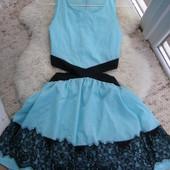 Платье новое цвет мята+ черное кружево S-M-размер