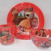 Детский набор посуды Маша и Медведь, стекло 3 предмета
