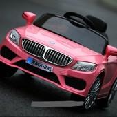 Детский электромобиль BMW M 3270 eblr-8 с кожаным сиденьем, на Eva колёсах, розовый